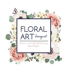 Floral card design garden flower pink peach rose vector
