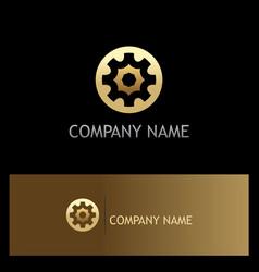 gear gold logo vector image