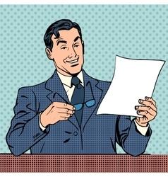 man reads document report businessman scientist vector image vector image