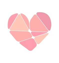 Pink heart symbol made up of abstract forms vector image