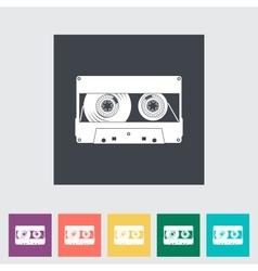 Audiocassette flat single icon vector image