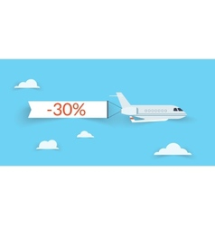Flat airplane with shadow vector image vector image