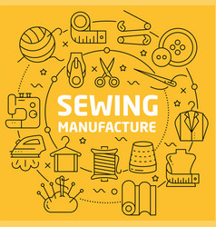linear sewing manufacture vector image