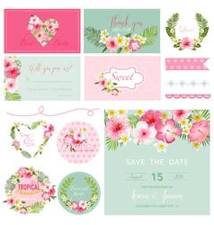 Scrapbook Design Elements - Tropical Flower Theme vector image vector image
