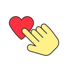 yellow hand icon press heart vector image