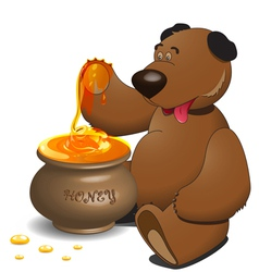 bear with pot of honey vector image vector image