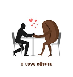 Coffee lovers lover in cafe man and coffee beans vector