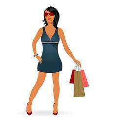 fashion shopping girl with bag vector image vector image