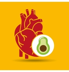 Food healthy heart green avocado concept design vector