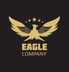 gold heraldic eagle logo design vector image vector image