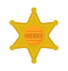 Golden west sheriff star metal badge vector image