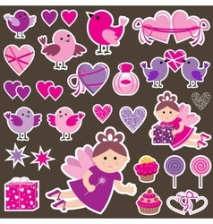 Stickers with Scrapbook vector image vector image