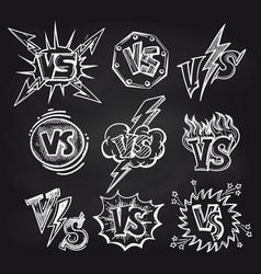 Versus logos on blackboard background vector