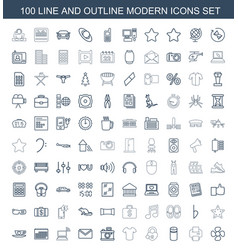 100 modern icons vector image
