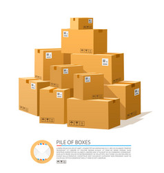 A pile boxes cardboard brown vector