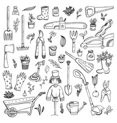 A set hand-drawn doodles about a country house vector