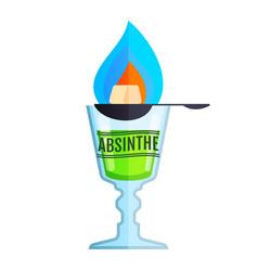 absinthe bottle beverage flat icon sign vector image