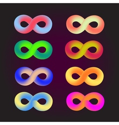 Abstract colored infinity logo isolated on black vector image