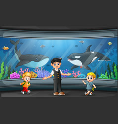 Aquarium interior background with glass transparen vector