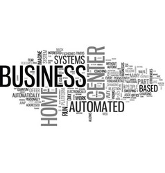 Automated business center systems text word cloud vector