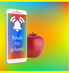 Back to school smartphone red apple vibrant vector