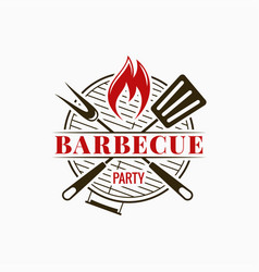 barbecue grill logo bbq party with fire flame on vector image