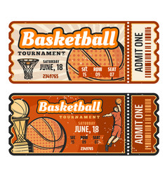 Basketball sport game ticket vector