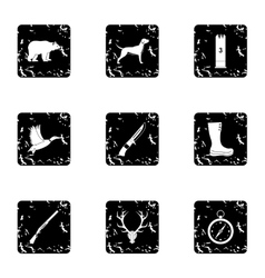 Bird hunting icons set grunge style vector