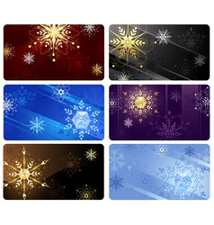 Business cards with snowflakes vector
