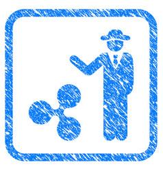 Businessman show ripple framed stamp vector