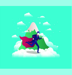 Businessman with hero coat running in the sky and vector