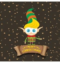 Cartoon cute merry Christmas elf vector