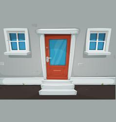 Cartoon house door and windows in the street vector