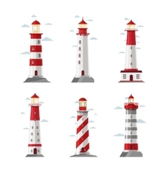 Cartoon lighthouse icons beacon or pharos vector