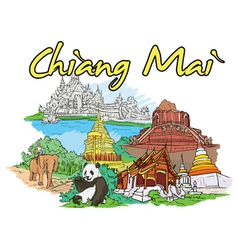 chiang mai doodles vector image