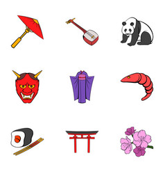 chinese symbol icons set cartoon style vector image