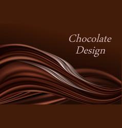 chocolate swirl wavy background dark brown color vector image