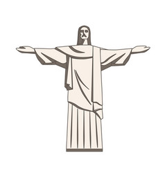 christ the redeemer statue in flat style vector image