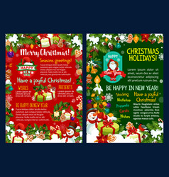 Christmas holidays poster with new year gift frame vector