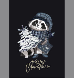Christmas woodland cute forest cartoon raccoon vector