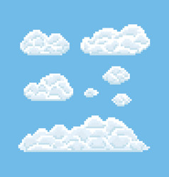 Clouds shapes set pixel art 8 bit texture vector