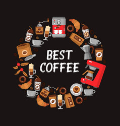coffee flat icons round frame - wreath vector image