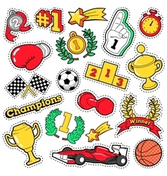 Comic Badges Patches Stickers Champions vector image