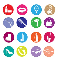 Cosmetic make up and beauty icons vector