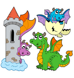 Cute dragons collection vector