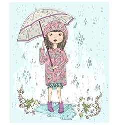 Cute little girl holding umbrella vector