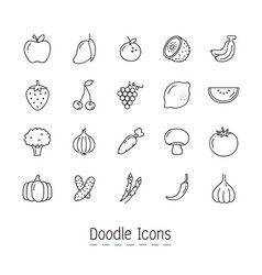 Doodle fruits and vegetable icons vector