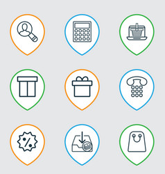 E-commerce icons set with callcentre tote bag vector