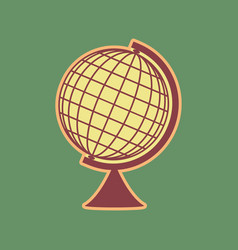 Earth globe sign cordovan icon and mellow vector