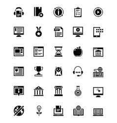 Elearning glyph icons collection vector
